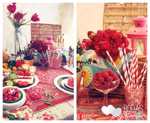 Detalle de la propuesta de decoración de mesas con inspiración en México
