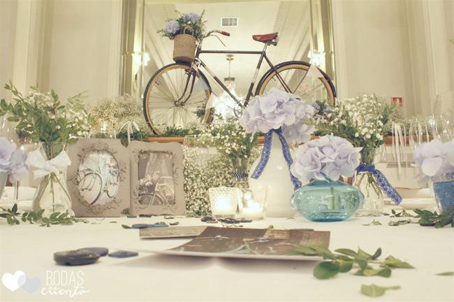 Hortensias azules en una boda en Zaragoza