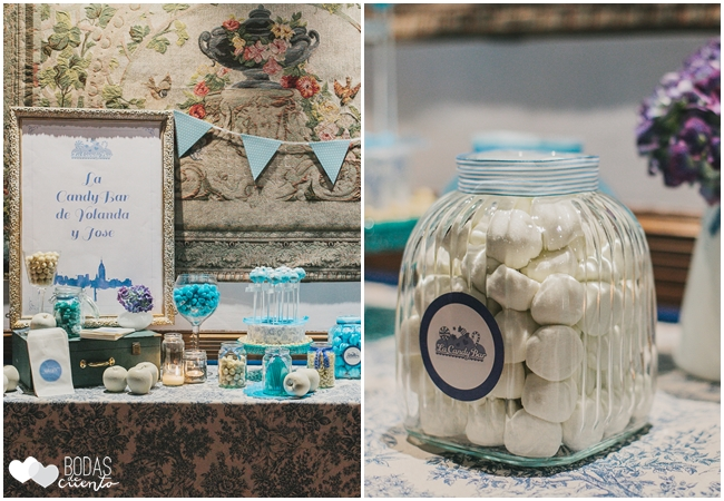 una boda azul candy bar