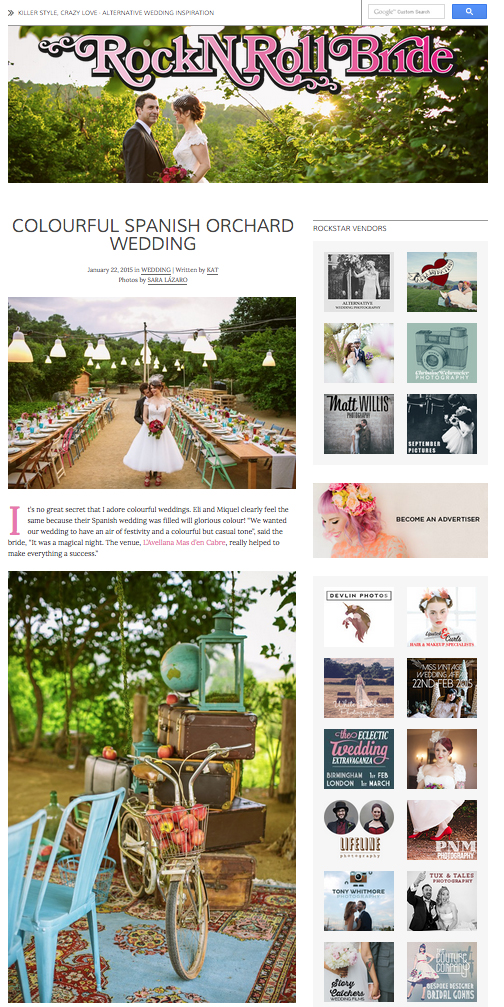 wedding planner Barcelona featured on Rock n Roll Bride
