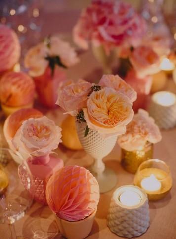 decoración boda con rosa austin www.bodasdecuento.com