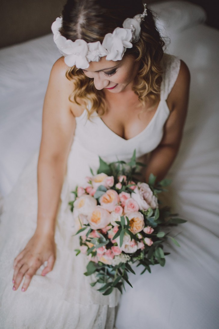 novia ramo romántico www.bodasdecuento.com