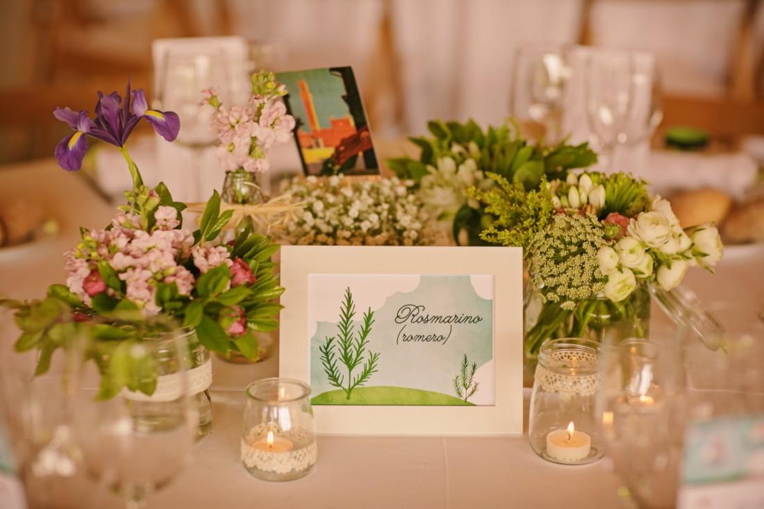 decoración mesas plantas aromáticas www.bodasdecuento.com