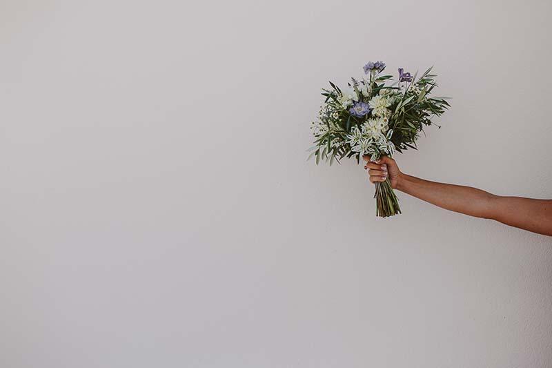 ramo novia hojas olivo www.bodasdecuento.com