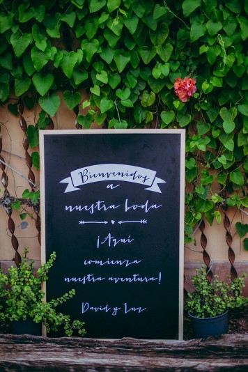 pizarra bienvenida recepción invitados www.bodasdecuento.com
