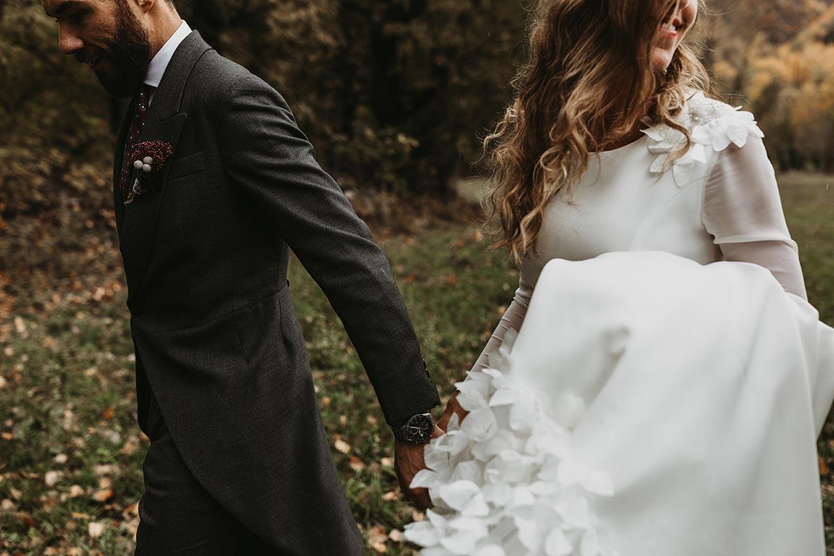 Fotografía de novios en el pirineo boda de invierno