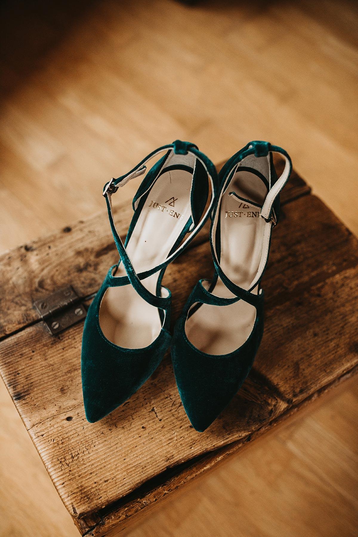 Zapatos novia terciopelo verde oscuro