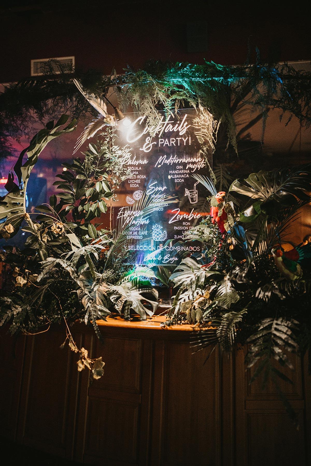 Fiesta tropical boda panel cristal cocktails & party caligrafia