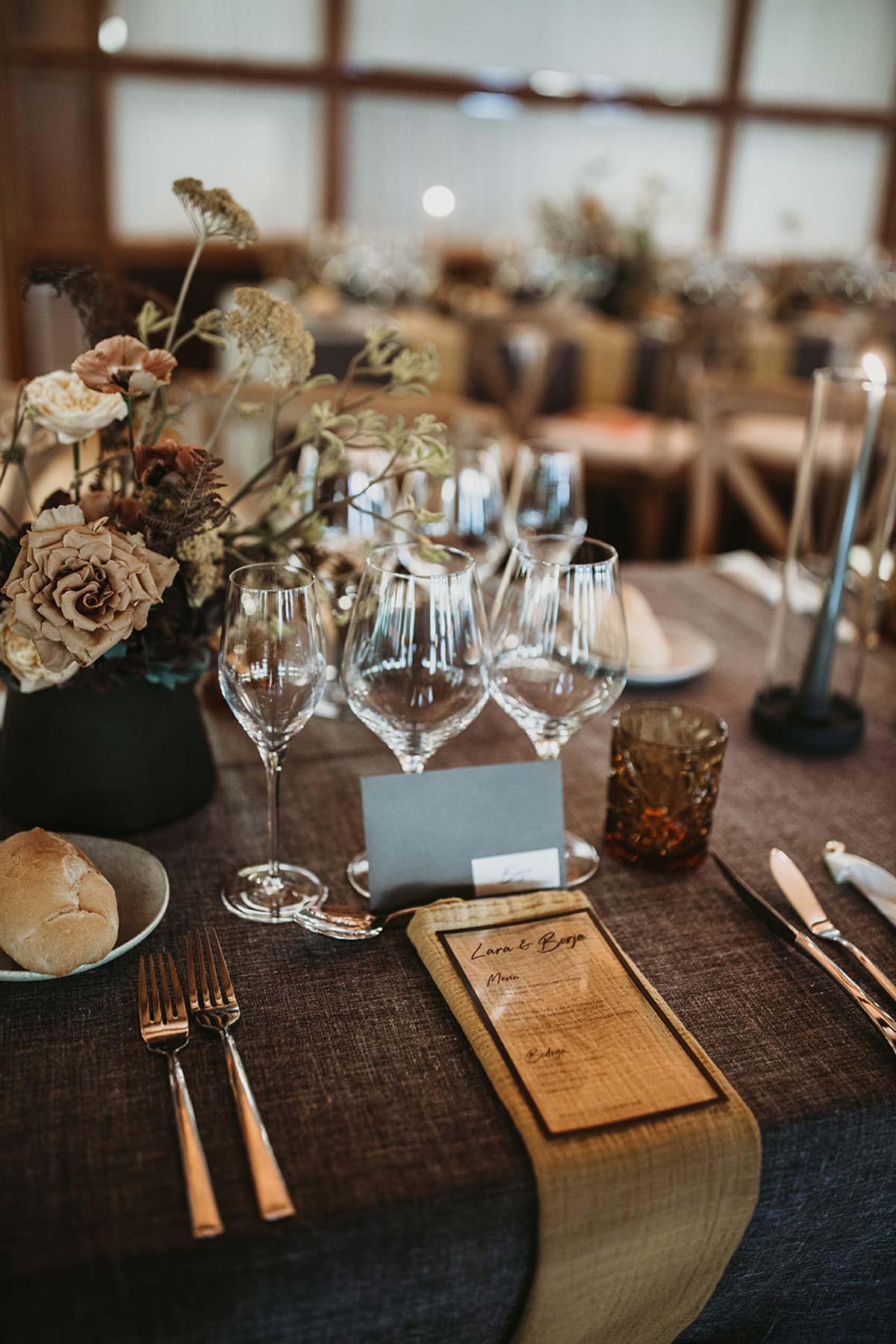 Boda de invierno Set de mesa mantel gris ocre marrón